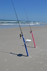 surf rods at the beach