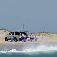 surf fishing at drive-on beach